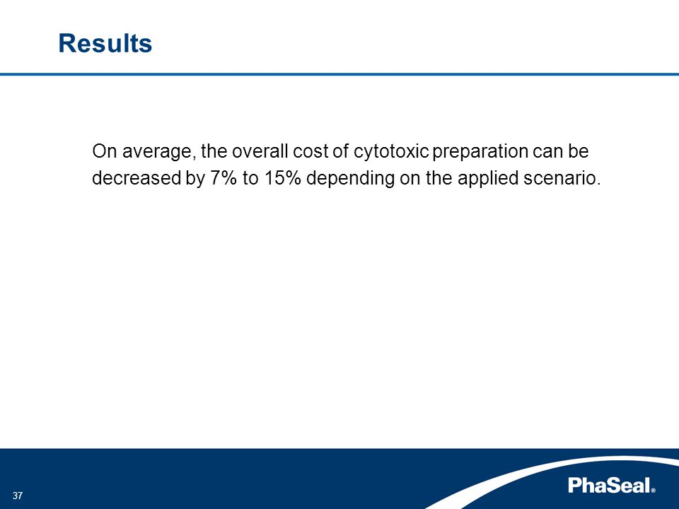 Results On average, the overall cost of cytotoxic preparation can be