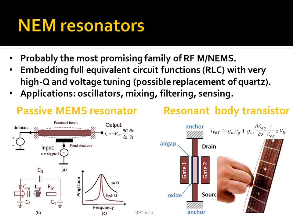 NEM resonators Passive MEMS resonator Resonant body transistor