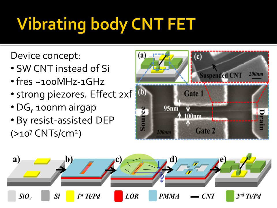 Vibrating body CNT FET Device concept: SW CNT instead of Si