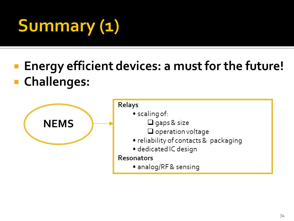 Summary (1) Energy efficient devices: a must for the future!