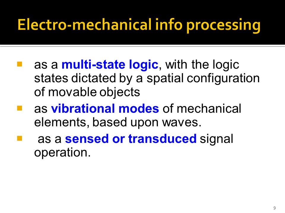 Electro-mechanical info processing