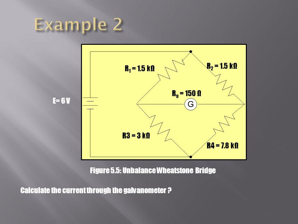 Example 2 R2 = 1.5 kΩ R1 = 1.5 kΩ Rg = 150 Ω E= 6 V R3 = 3 kΩ