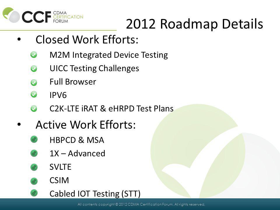 2012 Roadmap Details Closed Work Efforts: Active Work Efforts: