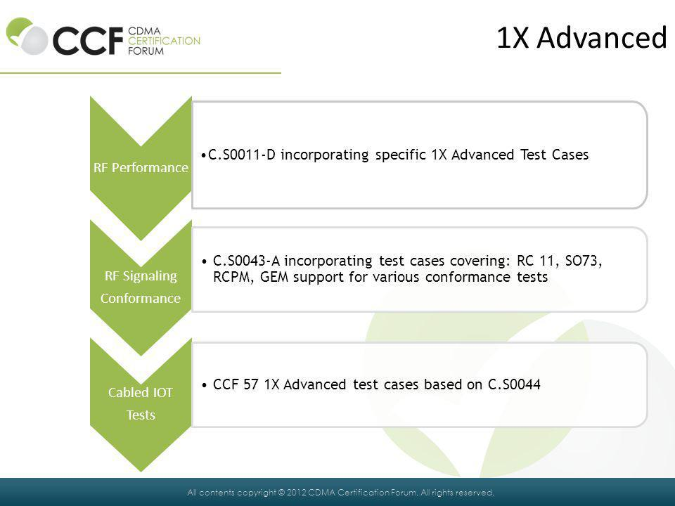 1X Advanced C.S0011-D incorporating specific 1X Advanced Test Cases