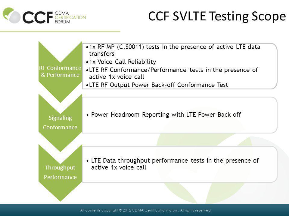 CCF SVLTE Testing Scope