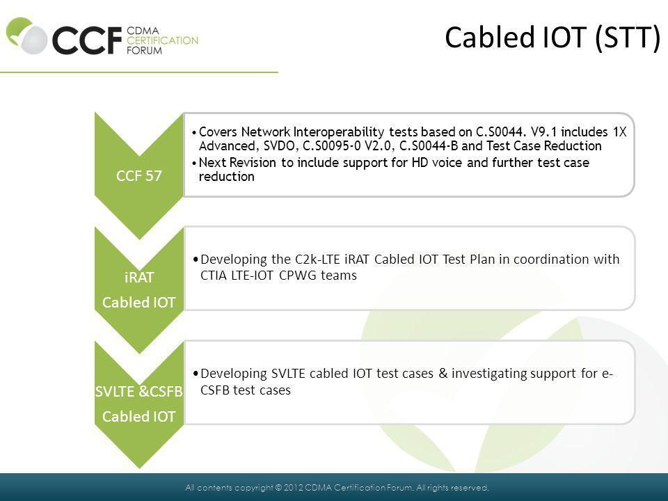 Cabled IOT (STT) CCF 57 iRAT Cabled IOT SVLTE &CSFB