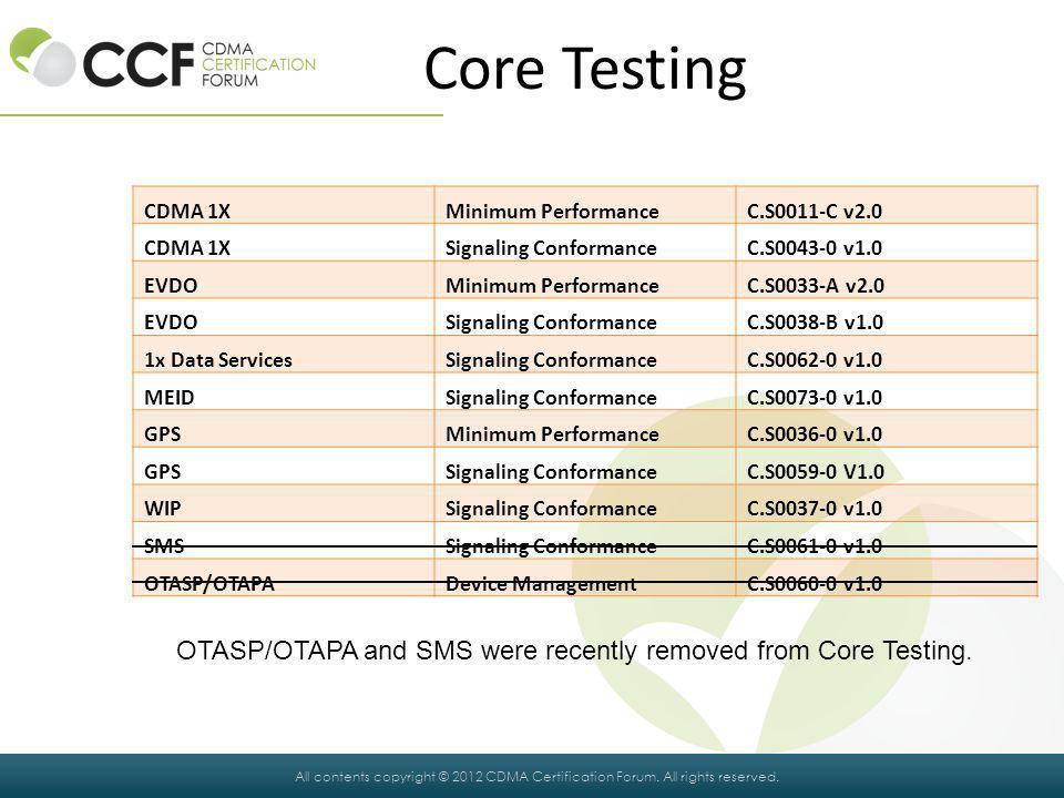 Core Testing CDMA 1X. Minimum Performance. C.S0011-C v2.0. Signaling Conformance. C.S0043-0 v1.0.