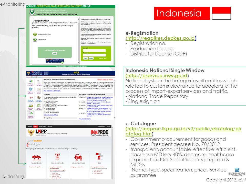 Indonesia e-Registration (http://regalkes.depkes.go.id)