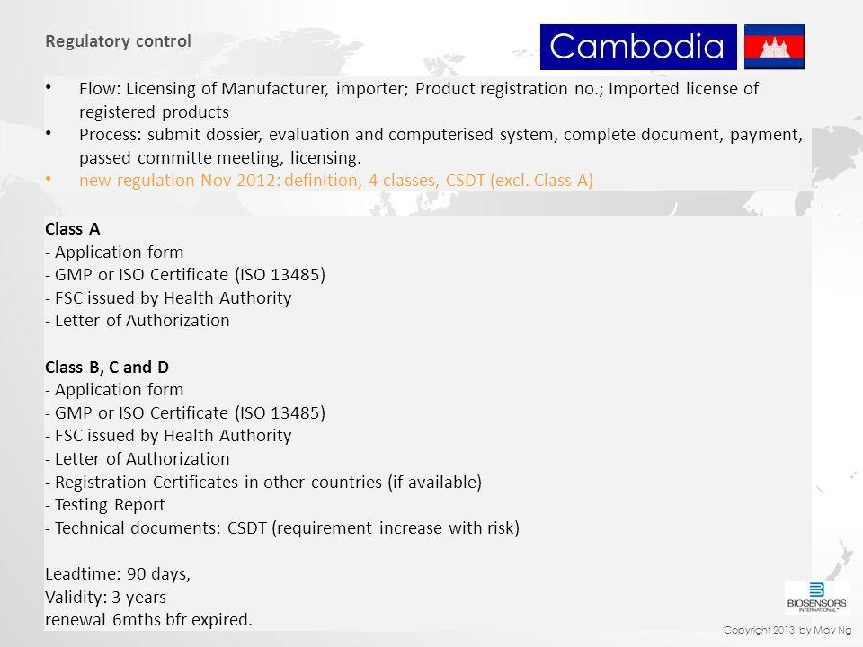 Cambodia Regulatory control