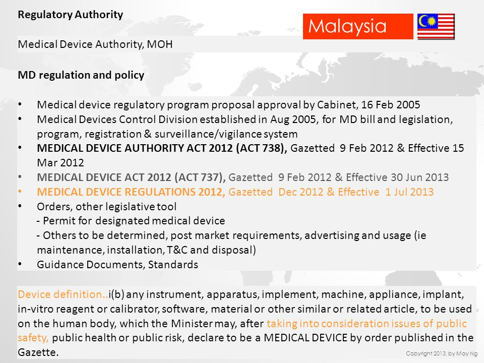 Malaysia Regulatory Authority Medical Device Authority, MOH