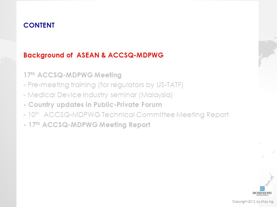 Background of ASEAN & ACCSQ-MDPWG 17th ACCSQ-MDPWG Meeting