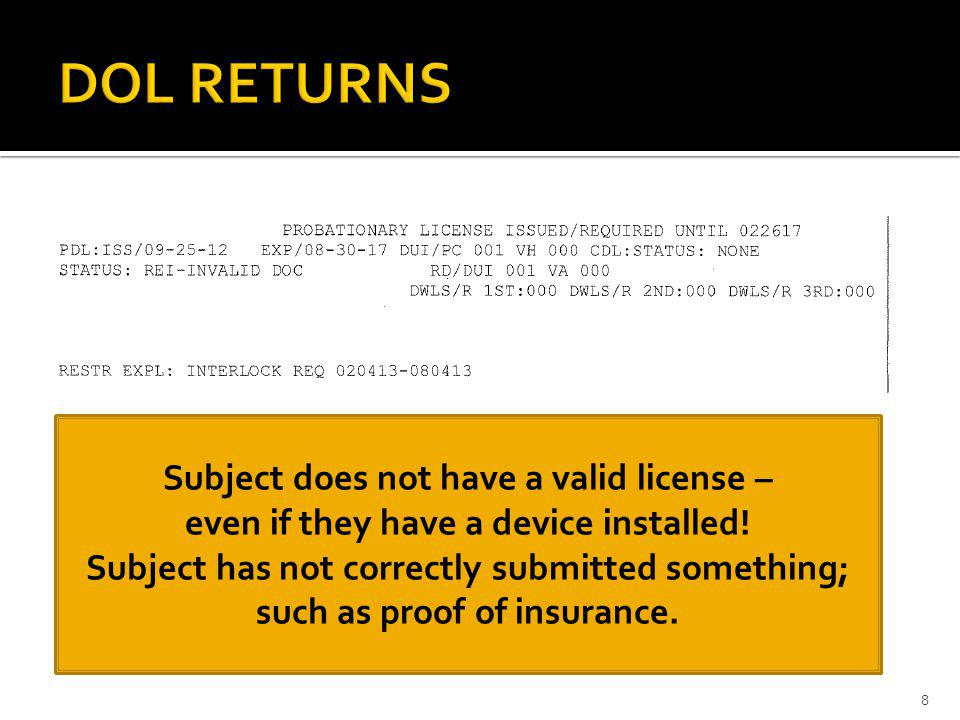DOL RETURNS Subject does not have a valid license –