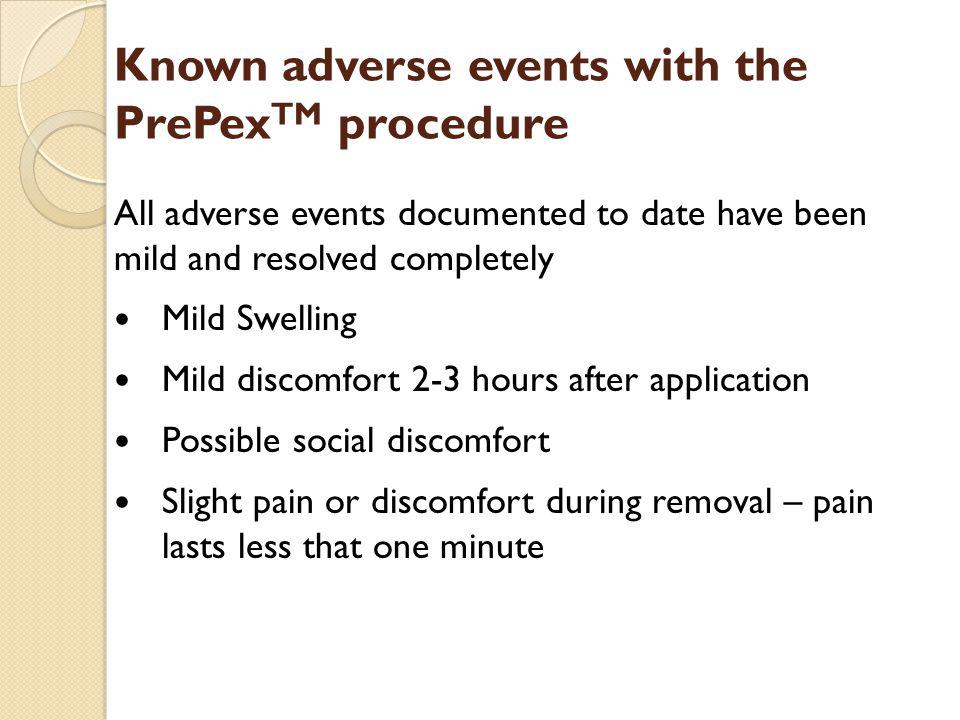 Known adverse events with the PrePexTM procedure