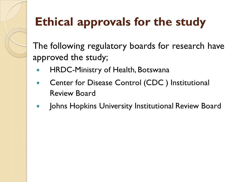 Ethical approvals for the study