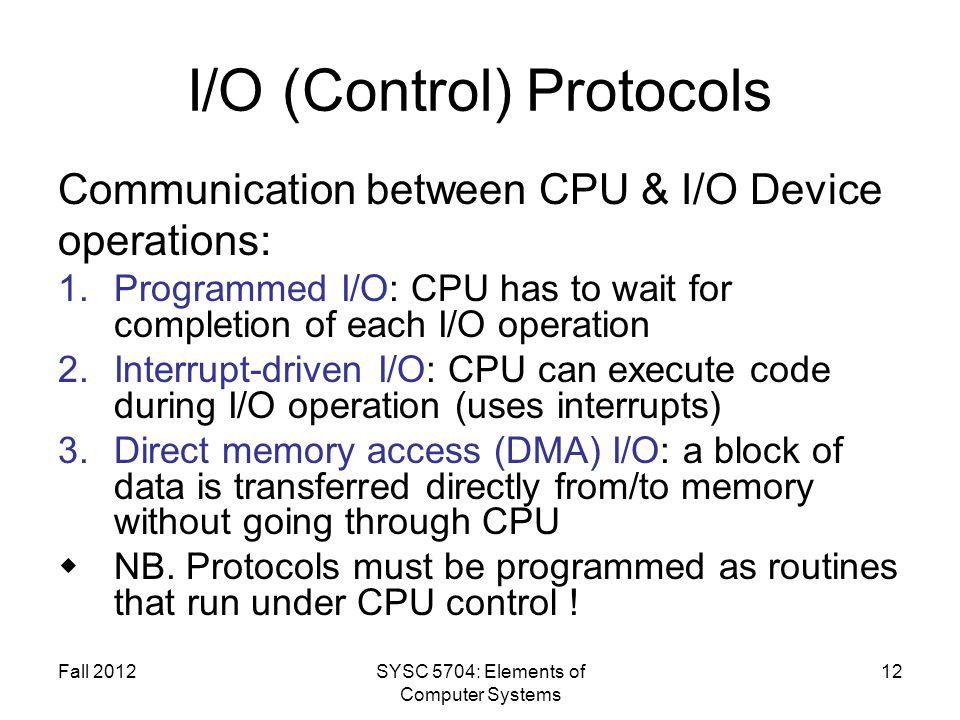 I/O (Control) Protocols