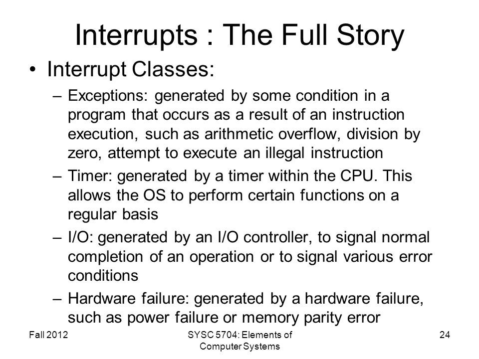 Interrupts : The Full Story