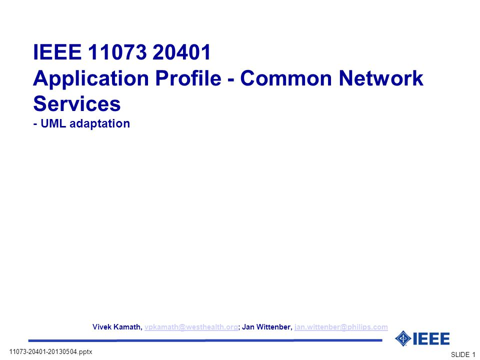 IEEE 11073 20401 Application Profile - Common Network Services - UML adaptation