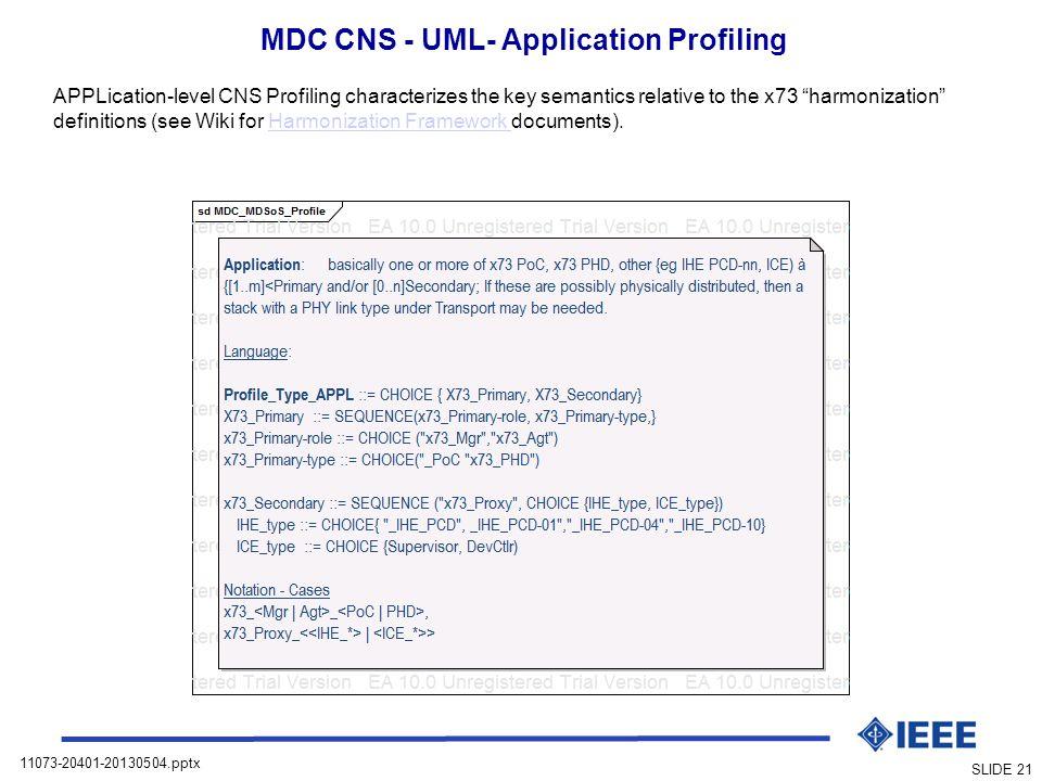 MDC CNS - UML- Application Profiling