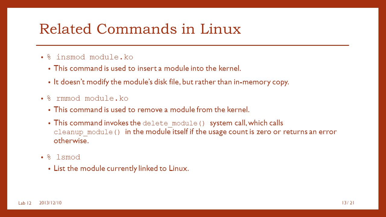 Related Commands in Linux