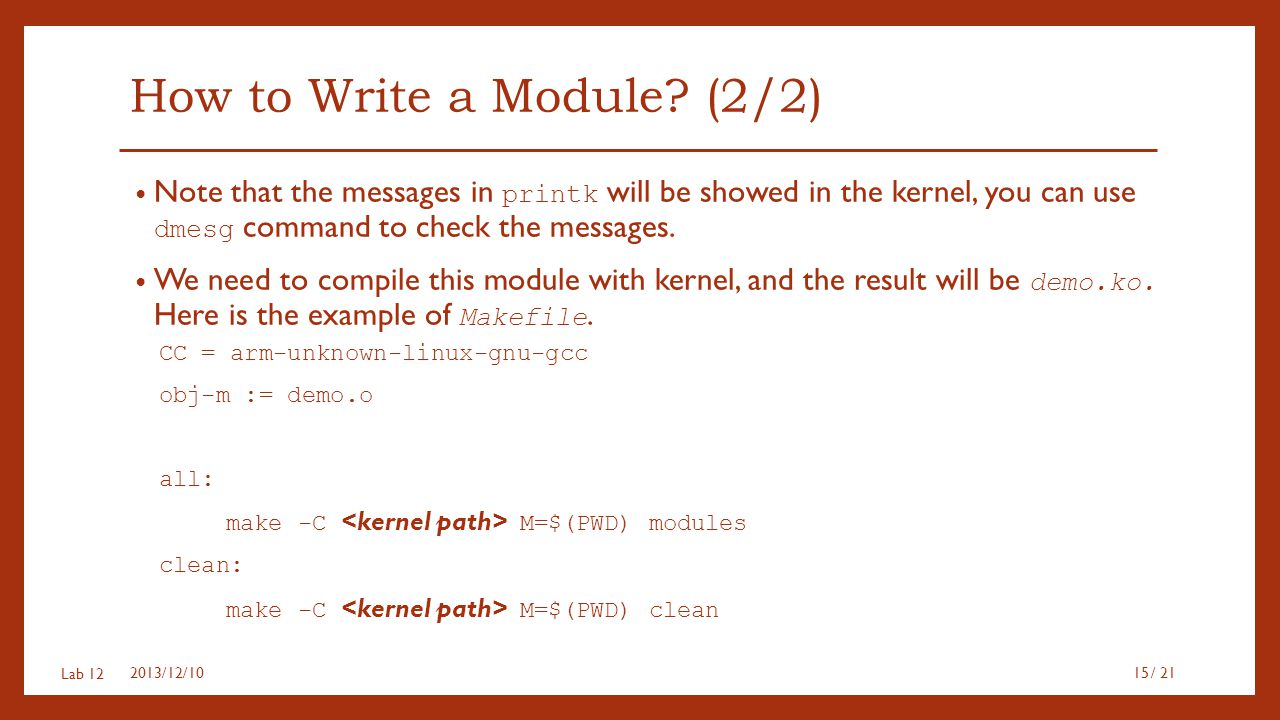 How to Write a Module (2/2)