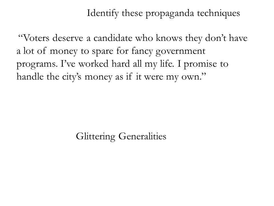 Identify these propaganda techniques