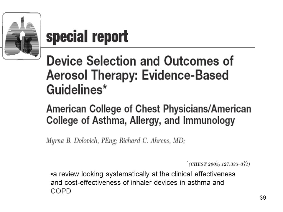 a review looking systematically at the clinical effectiveness and cost-effectiveness of inhaler devices in asthma and COPD
