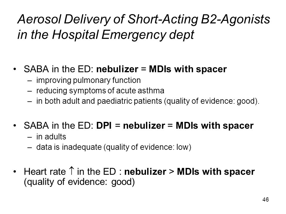 Aerosol Delivery of Short-Acting B2-Agonists in the Hospital Emergency dept