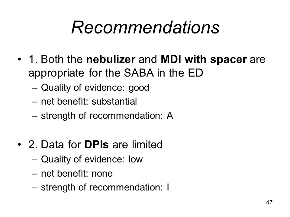 Recommendations 1. Both the nebulizer and MDI with spacer are appropriate for the SABA in the ED. Quality of evidence: good.