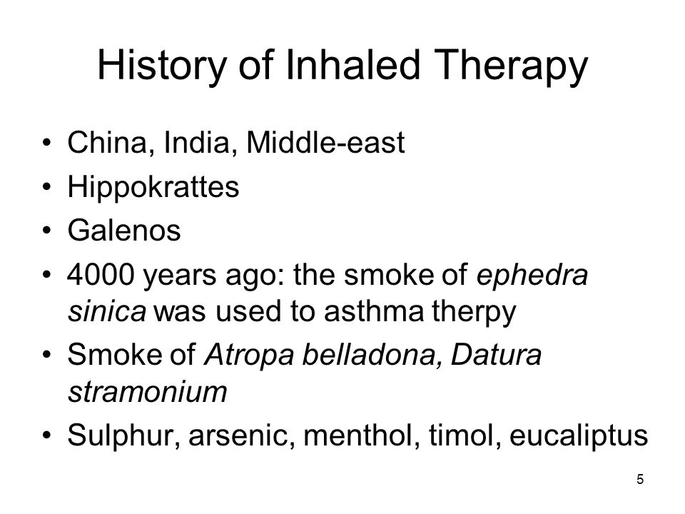 History of Inhaled Therapy