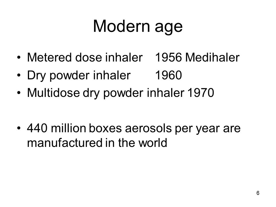 Modern age Metered dose inhaler 1956 Medihaler Dry powder inhaler 1960