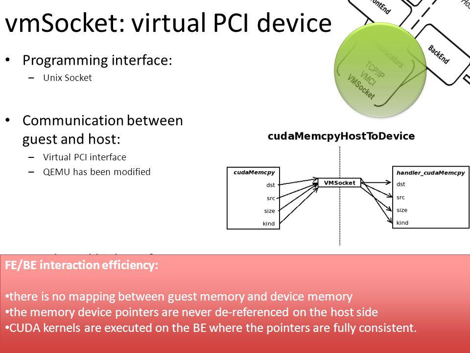 vmSocket: virtual PCI device