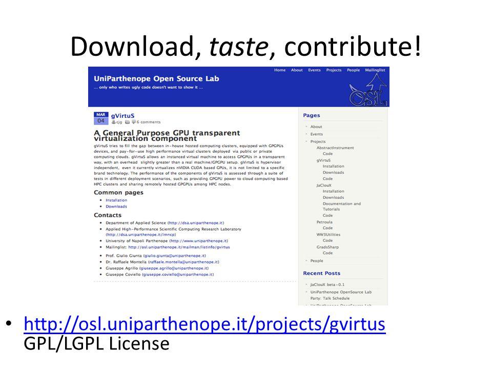 Download, taste, contribute!