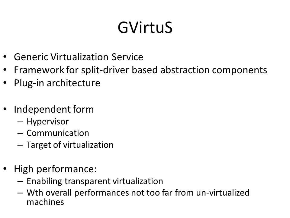 GVirtuS Generic Virtualization Service