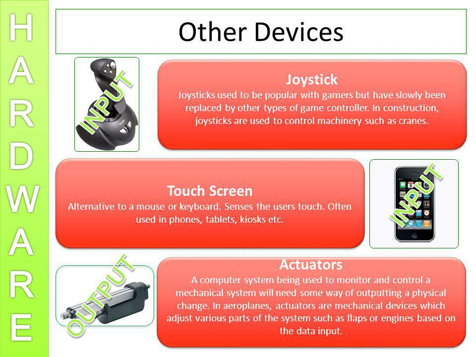Other Devices INPUT INPUT OUTPUT Joystick Touch Screen Actuators