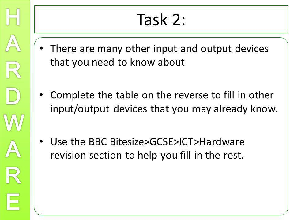 Task 2: There are many other input and output devices that you need to know about.