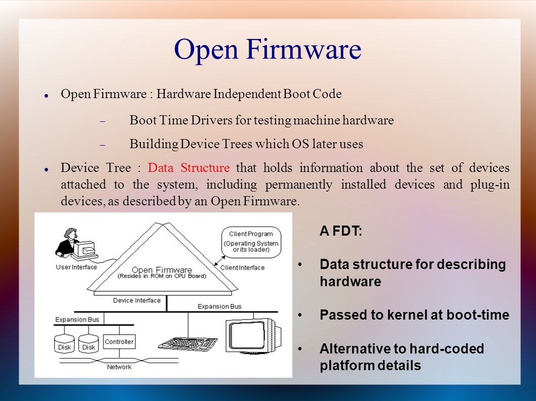 Open Firmware Open Firmware : Hardware Independent Boot Code