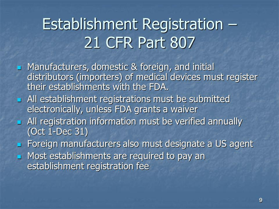 Establishment Registration – 21 CFR Part 807
