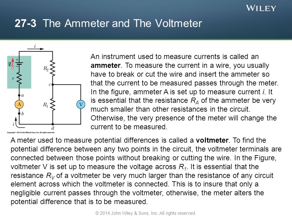 27-3 The Ammeter and The Voltmeter