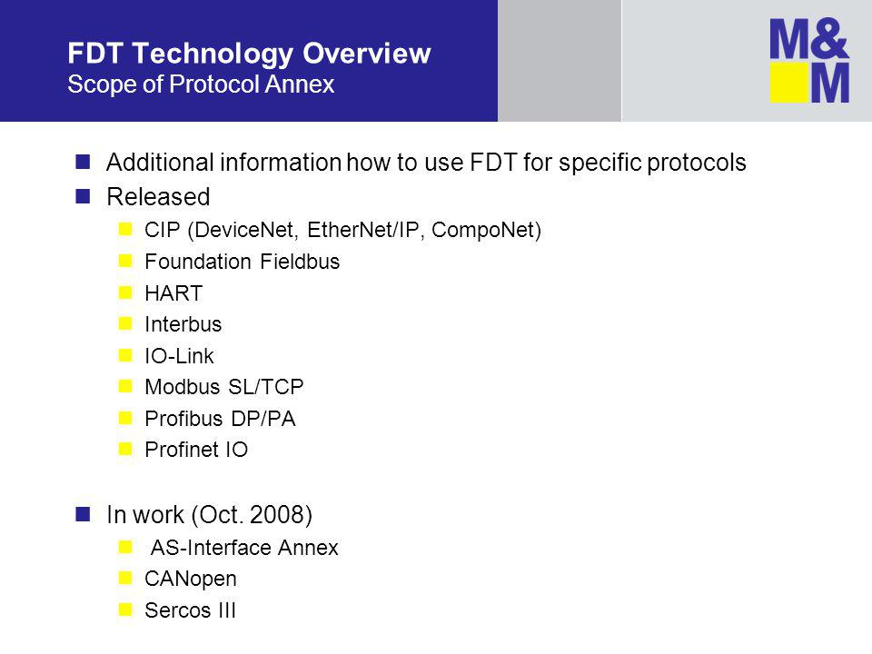 FDT Technology Overview Scope of Protocol Annex