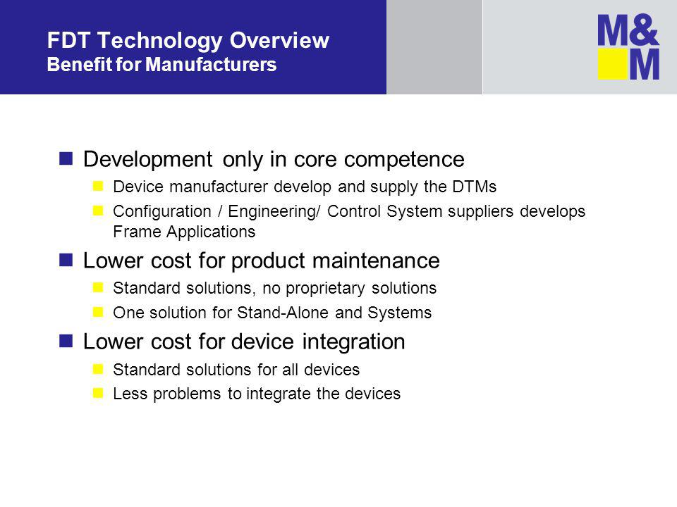 FDT Technology Overview Benefit for Manufacturers