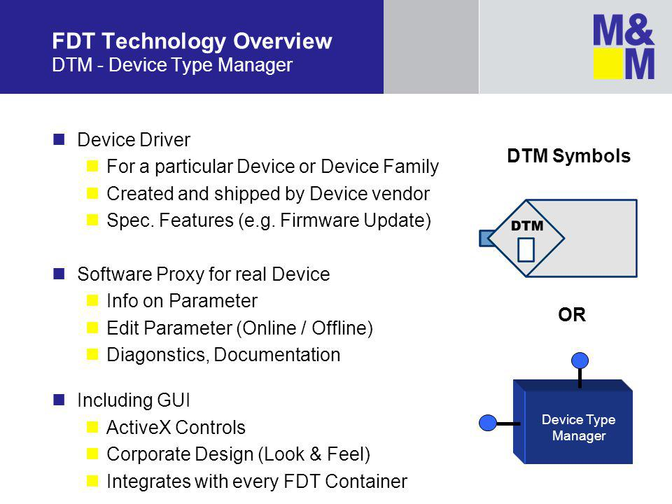 FDT Technology Overview DTM - Device Type Manager