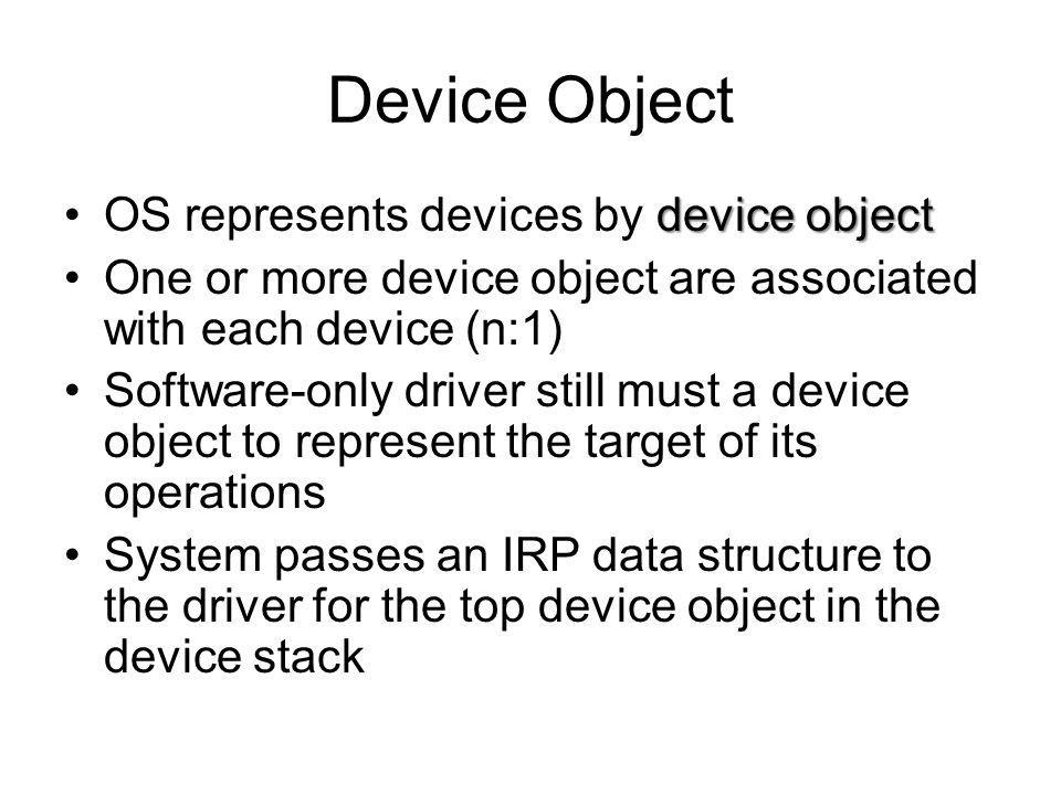 Device Object OS represents devices by device object