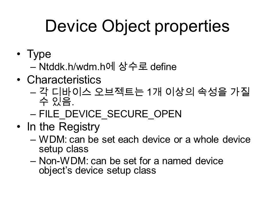 Device Object properties