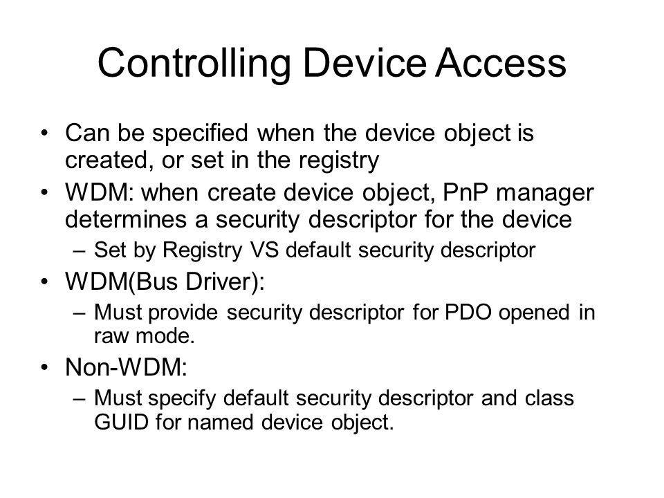 Controlling Device Access