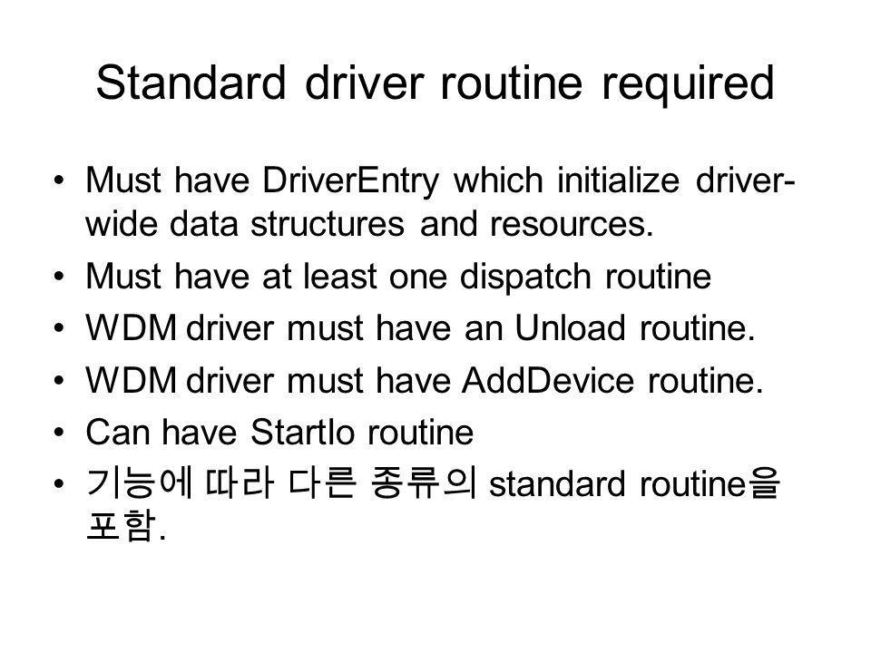 Standard driver routine required
