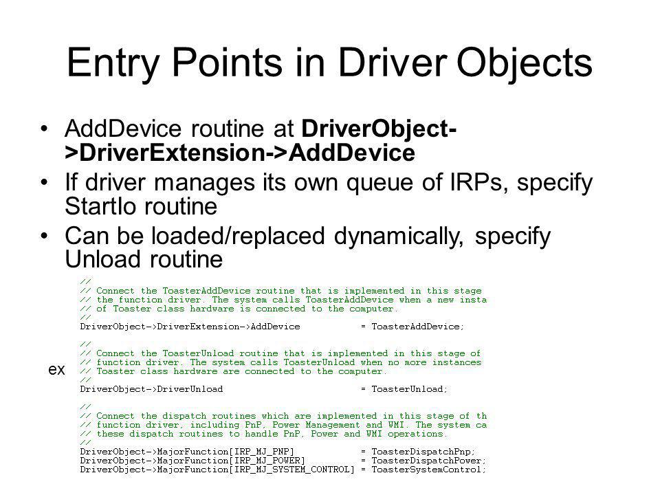 Entry Points in Driver Objects