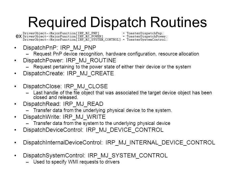Required Dispatch Routines