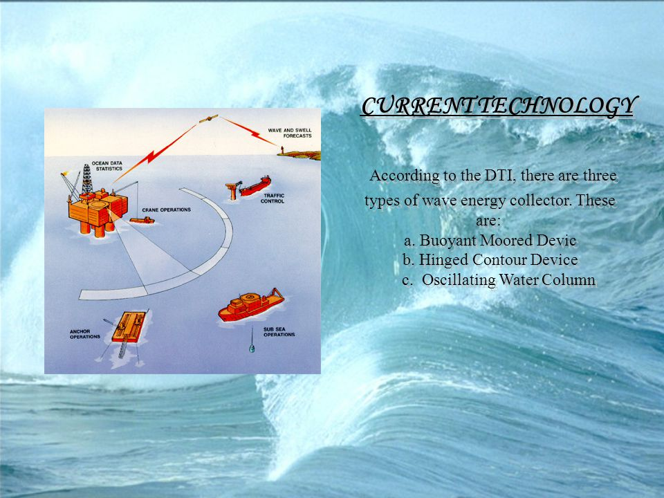 CURRENT TECHNOLOGY According to the DTI, there are three types of wave energy collector. These are: