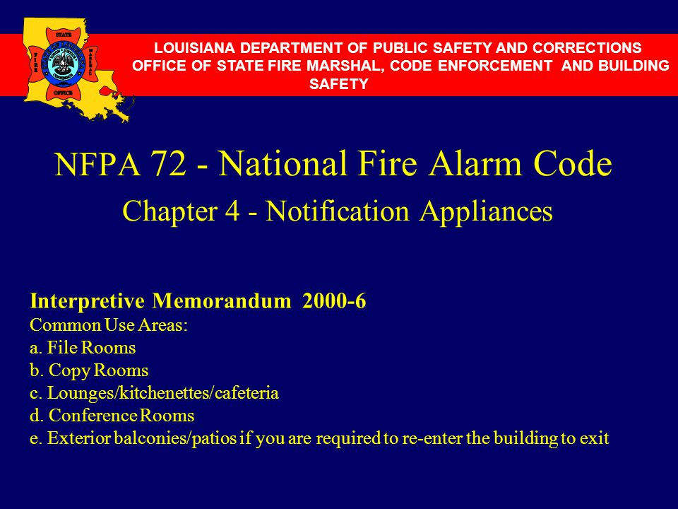 NFPA 72 - National Fire Alarm Code Chapter 4 - Notification Appliances