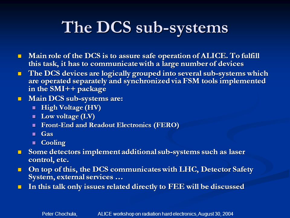 The DCS sub-systems